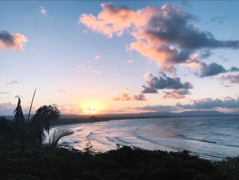 Byron Bay Activities - View over Clarkes Beach at sunset